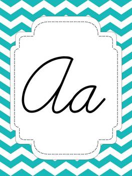 Teal Chevron Alphabet (Cursive, Print, and Writing Cards)