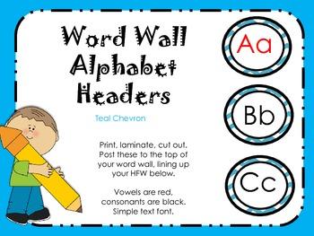 Teal Chevron Alphabet Headers for Word Wall