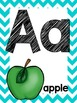 Teal Chevron Alphabet and number posters