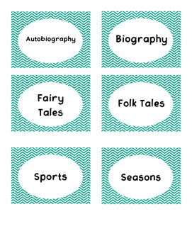 Teal Chevron Book Bin Labels