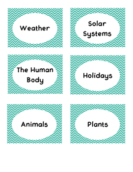 Teal Chevron Book Bin Labels