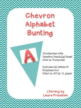 Teal Chevron Bunting for Dots on Turquoise Lovers