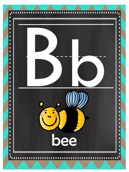 Teal Chevron Burlap and Chalkboard Alphabet