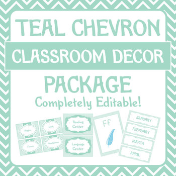 Teal Chevron Classroom Decor/ Decorations Package