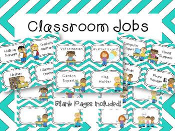 Teal Chevron Classroom Jobs