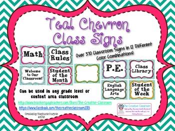 Teal Chevron Classroom Signs
