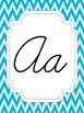 Teal Chevron Cursive Alphabet