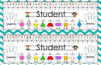 Teal/White Chevron Desk Plates Spanish- Editable