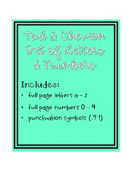 Teal & Chevron Large Letters & Numbers Set