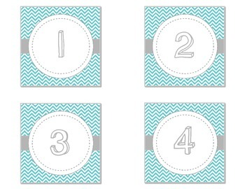 Teal Chevron Number Labels