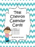 Teal Chevron Pocket Chart Calendar Cards