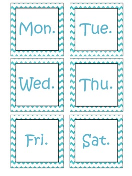 Teal Chevron Pocket Chart Calendar Cards