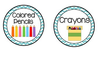 Teal Chevron Supply Labels