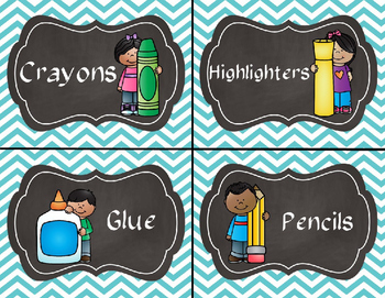 Teal Chevron Supply and Math Manipulative Bin Labels