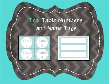 Teal Chevron Table Numbers and Name Tags