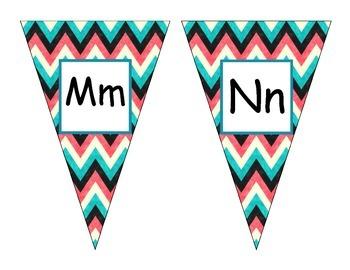 Teal Chevron alphabet Pennants