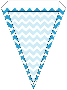 Teal Chevron and Solid Alphabet Pennant Banner