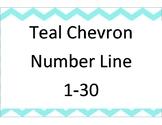 Teal Chevron number line 1-30
