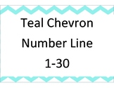 Teal Chevron number line 1-30