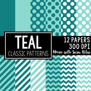 Teal Classic Designs- 12 Digital Papers