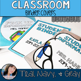 Teal Classroom Theme Decor - Binder Covers Editable