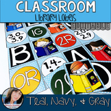 Teal Classroom Theme Decor - Library Tags Editable