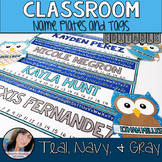 Teal Classroom Theme Decor - Name Plates and Tags