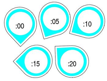 Teal Clock Labels