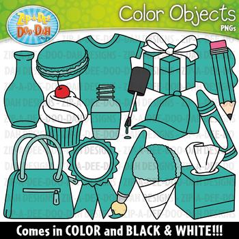 Teal Color Objects Clipart {Zip-A-Dee-Doo-Dah Designs}
