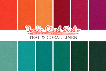 Teal & Coral Linen Fabric digital paper pack, Turquoise Blue Red Orange Peach