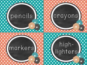Teal & Coral Polka Dot & Chalkboard Classroom Pack
