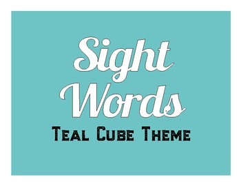 Teal Cube Themed Pre-K Sight Word Cards