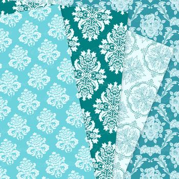 28 Teal Damask Digital Paper patterns ornate blue green scrapbook backgrounds