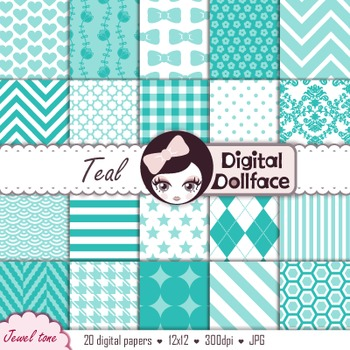 Teal Digital Scrapbook Paper Pack