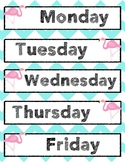 Teal Flamingo Chevron days of the week labels or calendar