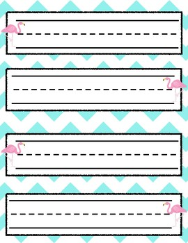 Teal Flamingo name tags or sentence strips
