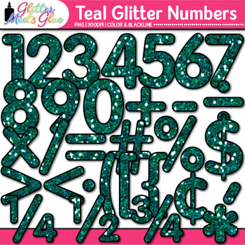 Teal Glitter Math Numbers Clip Art {Great for Classroom Decor & Resources}
