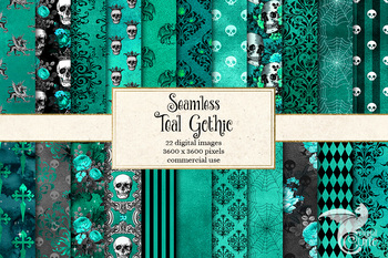 Teal Gothic Digital Paper, seamless halloween patterns and textures
