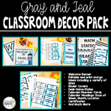 Teal, Gray, & Black Themed Classroom Decor Set Editable