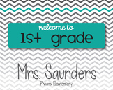 Teal & Gray Chevron Welcome Sign