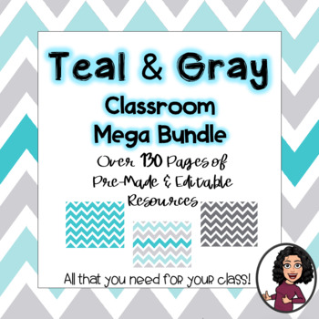 Teal & Gray Classroom Decor Bundle: EDITABLE!