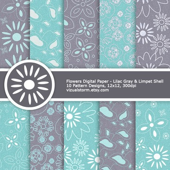 Teal & Gray Glitter Flowers Digital Paper, 10 Printable Patterns