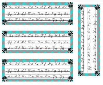 Teal, Gray, and White Cursive Alphabet Banner and Student Desk Strips