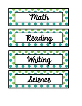 Teal & Green Polka Dot Daily Schedule Cards