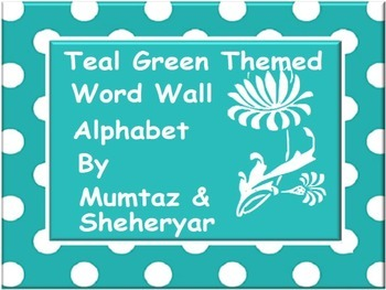 Word Wall Alphabet with Pictures and Teal Green Polka Dots :