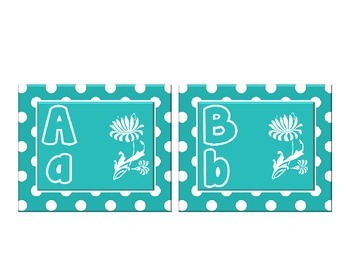 Word Wall Alphabet with Flower Themed and Teal Green Polka Dots :