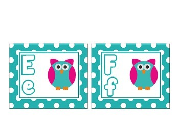 Owl Themed Word Wall Alphabet with Teal Green Polka Dots  :