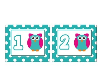 Owl Themed Word Wall Numbers 0-20 with Teal Green Polka Dots :