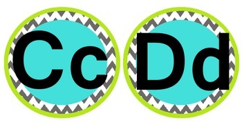 Teal, Green, and Grey Chevron Word Wall Headings #2