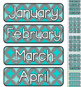 Teal & Grey Themed Pocket Chart Subject Schedule Cards and Calendar